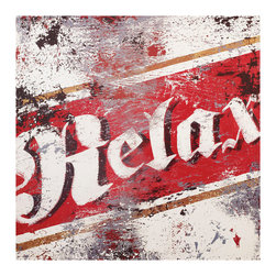 ESTUDIO39 - 'RELAX' Canvas Art, 18x18 - The bold reminder to relax in this piece both surprises and pleases you.  The sharp contrast of red and white is eased by the weathered effect of time.  The clean and simple graphic stands out in any room and lends itself easily to any décor.  A beer in a shack by the water would be this piece's perfect compliment.