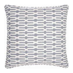 Links Tin Pillow - Deep grey, the most updated and sophisticated of neutral shades, pairs with white to create a glamorously elongated version of an on-trend yet timeless chain-link pattern.  The Links Tin Pillow's pure cotton cover has self-welted trim and zipper closure for a precise, tailored appearance; in all, the cushion gives your furnishings an assertive accessory with downplayed savoir faire.
