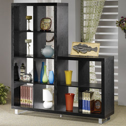 "Coaster - 800824 Bookcase - Black, two level bookshelf with brushed metal accent legs and support.; Dimensions: 63.00""L x 15.75""W x 70.75""H"
