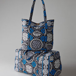Vera Bradley - Vera Bradley Canterberry Cobalt Large Duffel - An ornate scroll and medallion pattern in shades of gray, black, and white enlivened with pops of cobalt adds style and sophistication to travel necessities. From Vera Bradley. Made of cotton. Machine wash; remove solid bases first. Vera tote has s...