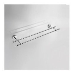 WS Bath Collections - Duemila Double Towel Rail in Polished Chrome - Solid Brass Base. Made by Lineabeta of Italy. Finish/Color: Polished Chrome. Dimensions: 5.9 in. W x 23.6 in. L