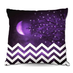 DiaNoche Designs - Pillow Woven Poplin - Monika Strigels Purple Moon Chevron - Toss this decorative pillow on any bed, sofa or chair, and add personality to your chic and stylish decor. Lay your head against your new art and relax! Made of woven Poly-Poplin.  Includes a cushy supportive pillow insert, zipped inside. Dye Sublimation printing adheres the ink to the material for long life and durability. Double Sided Print, Machine Washable, Product may vary slightly from image.