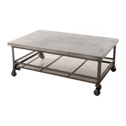 "Kathy Kuo Home - Urban Mercantile Galvanized Steel Industrial Coffee Table - ""This chic industrial coffee table was built with a distinctly modern style. The strength of its galvanized steel top and iron base make it a willing workhorse, while the wire mesh basket underneath provides storage any urban space can use."