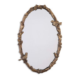 Uttermost - Paza Oval Vine Gold Mirror - Bring a joyous feeling to your foyer with this bird and vine design mirror. Every morning will feel like spring as you make the final check on your appearance before you head out the door. What the weather's really like is your problem.