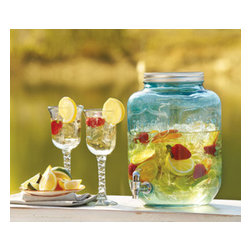"Home Essentials - Blue Yorkshire Mason Jar Drink Dispenser - Add a bit of southern charm to your outdoor or indoor party with this blue mason jar beverage server. Invoking a classic sense of tradition, This mason drink dispenser showcases 2 gallons of you favorite cocktail or iced tea, lemonade and apple cider. Featuring a high quality glass construction, easy pour spout and screw top metal lid, this sun tea beverage server will keep your get together organized. * Dimension:12.5""H x 7.5""in diameter * 2 Gallon Capacity * Available in Clear"