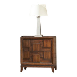 Homelegance - Homelegance Campton Nightstand 2 Wall Panel - Creating depth through texture and contrast, the Campton Collection reinterprets retro-contemporary style. The three-dimensional geometric pattern creates an asymmetrical design that is both visually stimulating and functional. The pattern serves as hidden drawer pulls and allows for hidden footboard storage in the platform bed. Further updating the look is the warm tobacco brown finish on Asian mahogany veneers. If modern style is your goal, then Campton will surely make a great addition to your contemporary lifestyle.