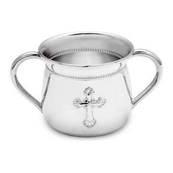 Reed & Barton - Reed and Barton Abbey Silverplate Baby Cup - 4711 - Shop for Drinkware from Hayneedle.com! Welcome a new life into the world with the Reed and Barton Abbey Silverplate Baby Cup. This stunning cup features the decorative elements of the Reed and Barton Abbey Collection inspired by the elaborate decoration of great Abbeys. The baby cup features a large ornate cross and beaded detail. It's silver plated making it a perfect gift for the christening of a young soul. It will surely become a cherished keepsake. The double-handled design adds function and style to this stunning cup. Engrave your personal message on the cup to make it a special gift.About Reed & Barton/Eureka Mfg.Founded in 1824 Reed & Barton enjoys a reputation as one of the country s foremost marketers of fine tableware and giftware. Recognized for design excellence and the highest quality workmanship Reed & Barton offers an array of exceptional products that satisfy a broad range of tastes. Today the Reed & Barton name graces fine flatware dinnerware crystal giftware and picture frames as well as a wide variety of expertly made handcrafted flatware and jewelry chests. For more than 183 years our products have been the choice of those with discriminating taste. Our unwavering commitment to quality and customer satisfaction can be found in every product that bears the Reed & Barton name.Attention California Residents - Proposition 65 Warning: Consuming foods or beverages that have been kept or served in leaded crystal products or handling products made of leaded crystal will expose you to lead a chemical known to the State of California to cause birth defects or other reproductive harm.