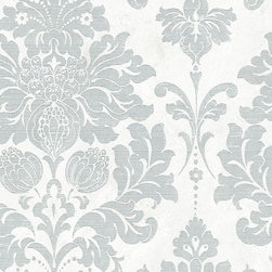 White and Silver Damask - MD29419 - Collection:Silk Impressions