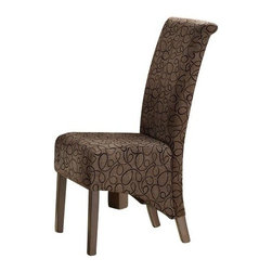 """Monarch Specialties - Monarch Specialties Modern Swirl Parson Chair in Brown - With modern style at its finest, these chairs will help create a luxurious feel to your dining room. These brown swirl fabric covered chairs include high backs and swiveling seats, both designed for your comfort and convenience. The 40"""" high Parson chair has cappuccino stained, solid wood legs. They will definitely be the topic of discussion and center of attention at all your casual or formal gatherings. What's included: Parson Chair (can only be purchased in sets of 2)."""