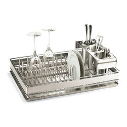 Frontgate - Best of Basics Dish Rack - Drip tray, three removable utensil containers, and two removable racks. Removable racks are dipped in plastic coating to ensure that fine china and stemware is protected. Brushed stainless steel construction. Generously proportioned and beautifully crafted from brushed stainless steel, we designed our premium Dish Rack to echo the look of your upscale kitchen decor. . . .