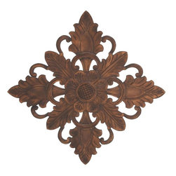 Benzara - Premium Grade Wood Wall Plaque with Charming Motifs - Add a look of elegance and verve to spruce up your staid settings with this 36 in. H Unique Premium Grade Wood Wall Plaque with Charming Motifs. Elaborately detailed with charming motifs, this wood wall plaque is sure to lend a captivating touch to different settings. Detailed with bold leaf motifs, this wall plaque is designed with a rich, distressed finish that is sure to complement different decor themes. With ornate arches and stylized leaf accents, this wall piece is a reminiscent of classic, old-world designs, and will be a wonderful decor accent. The center of this wall plaque flaunts a bold, intricately detailed floral motif that is lavished with a rust finish. Made from premium grade wood, this wall plaque is a wonderful combination of durability and functionality. It will last for long without losing its color or sheen..