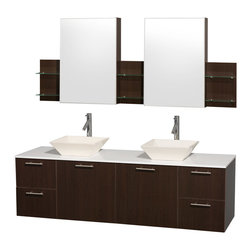 "Wyndham Collection - Amare 72"" Espresso Double Vanity w/ White Man-Made Stone Top & Medicine Cabinet - Modern clean lines and a truly elegant design aesthetic meet affordability in the Wyndham Collection Amare Vanity. Available with green glass or pure white man-made stone counters, and featuring soft close door hinges and drawer glides, you'll never hear a noisy door again! Meticulously finished with brushed Chrome hardware, the attention to detail on this elegant contemporary vanity is unrivalled."
