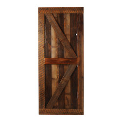Big Sky Barn Doors - Big Horn Door, Finished, 50x85 - The Big Horn Door is als known as a British Brace, handcrafted from reclaimed Montana barnwood. Each Big Sky Barn Door is shipped completely assembled and ready to hang.     Due to the nature of antiqued reclaimed lumber, each door is unique in character and appearance.  Colors might vary slightly as well as wood grains, knots, nail holes, etc... Every door is handcrafted and inspected for quality assurance.    Hardware is not included.