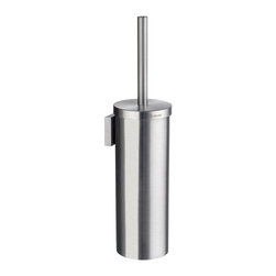 Smedbo - House Toilet Brush Holder in Brushed Chrome Finish - Wall mount bracket is included. Can be used as both free standing and wall mounted. Replaceable toilet brush. 15.38 in. H