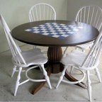 Round Farm Table With Custom Painting - Made by http://www.ecustomfinishes.com