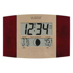 La Crosse Technology - La Crosse Technology WS-8117U-IT-C Atomic Digital Wall Clock with Moon and Tempe - Keep track of the time and weather with this stylish atomic wall clock. The clock constantly updates itself with the current time and weather conditions. You can even keep track of the different phases of the moon.
