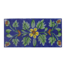 "Knobco - Tiles 3x6"", Yellow & Brown Flower & Green shading leaf w/ Blue - Yellow and Brown Flower and Green shading leaf with Blue Base Tiles from Jaipur, India. Unique, hand painted tiles for your kitchen or other tiling project. Tile is 3x6"" in size."