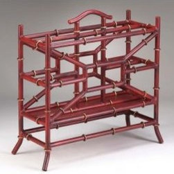 Bamboo Iron Magazine Rack - I'm completely coveting this red bamboo magazine rack. It would be the perfect touch for any space.