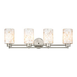 Design Classics Lighting - Bathroom Light with Mosaic Glass in Satin Nickel Finish - 704-09 GL1026C - Country / cottage satin nickel 4-light bathroom light. A socket ring may be required if installed facing down. Takes (4) 100-watt incandescent A19 bulb(s). Bulb(s) sold separately. UL listed. Damp location rated.