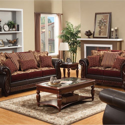 Furniture of America - Furniture of America Traditional Franchesca 2-piece Fabric-leatherette Sleeper S - This traditional-inspired design set includes a fabric and leatherette collaboration,showered by assorted tassel assorted pillow accents. Finished with intricate wood carvings for a sophisticated touch.
