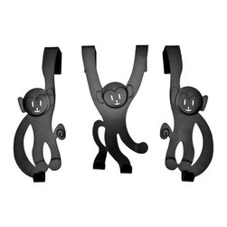 Monkey Door Hangers, Black - The Monkey Door Hanger Hooks are a fun addition to a kid's room or bathroom. These door hangers hook straight onto internal doors so there is no need to drill holes anywhere!
