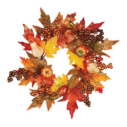 "Oddity - Oddity Christmas Party Decorative 6"" Maple Leaf Pumpkin Copper Berry Candle Ring - All the joys of fall are captured in our fall scenery collection. Beautiful autumn leaves are accented with pumpkins to make this the perfect series to decorate your home with this fall."
