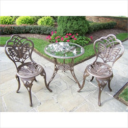 Oakland Living - Oakland Living Butterfly Cast Aluminum 3 Piece Bistro Set-Antique Pewter - Oakland Living - Patio Bistro Sets - 3601AP - About this product:
