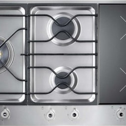 "Bertazzoni - PM36 3 I0 X Design Series 36"" Segmented Cooktop  3 Sealed Burners  2 Induction Z - Bertazzoni Design Series segmented cooktops have different combinations of gas griddle and two-zone induction cooking in three 12 inch 30cm segments The combinations are factory assembled for a seamless cooktop with a single cut-out for ease of insta..."