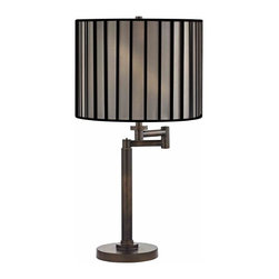 Design Classics Lighting - Modern Swing Arm Lamp with Black Shade in Bronze Finish - 1902-1-604 SH9548 - Contemporary / modern remington bronze 1-light table lamp. Swing arm has a maximum 9-inch extension. Takes (1) 100-watt incandescent three-way bulb(s). Bulb(s) sold separately. UL listed. Dry location rated.
