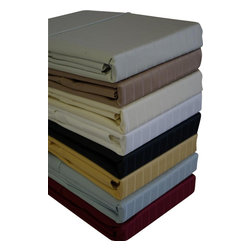 """Bed Linens - 600 Thread count Pin Stripe Sheets Sets, King, Ivory - 600 Thread count Pin Stripe 100% Egyptian cotton, Sateen Weave. Deep pockets to fit up to 18"""" mattress Fitted made with elastic all around for proper fit. * Colors: White, Ivory, Taupe, Sage, Blue, Black, Burgundy, & Gold"""