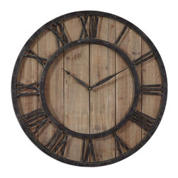 Uttermost - Uttermost 06344 Powell Wooden Wall Clock - Uttermost 06344 Powell Wooden Wall Clock