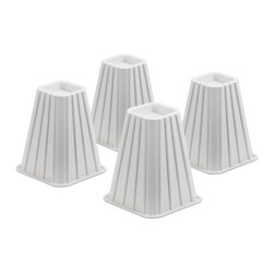 Honey Can DO - Bed Risers - Ivory, Set of 4 - Create an extra 5.25 of under-the-bed-space with our bed risers. They fit posts up to 2.75 in diameter or width and each riser boasts a 350 pound weight capacity. Perfect for dorm rooms, apartments, and kids rooms, where a little extra space can go a long way. Available in orange, green, blue, pink and ivory.