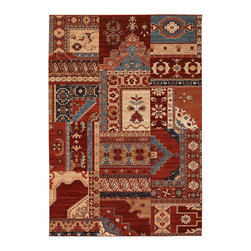 """Couristan - Timeless Treasures Kerman Mosaic Rug 4323/0300 - 4'6"""" x 6'6"""" - Because these area rugs contain such exquisite detail, other patterns showcased in your room-setting should be represented on a smaller scale. Choose a secondary color found in your area rug and complement it with your wall paint or use pillows and fabrics that are similar. Layering colors and textures makes your interior decor feel cohesive and well thought out."""