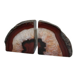 Michal and Company - Brown-Tone Agate Bookends - Agate Bookends are an ideal way to incorporate a natural element in your design space. Each agate is a semi-precious gemstone, formed layer-by-layer in concentric bands and patterns. Changes in pressure, temperature and mineral content create unique formations, making each agate unique.