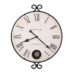 "HOWARD MILLER - Magdelan 25"" Wall Clock - This large wall clock features a Moment in Time antique dial framed in wrought iron, with a pendulum peep hole."