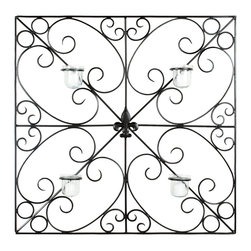 Safavieh - Votive Wall Dcor - The geometry of this square votive wall piece gets softened by the subtle sweep of wrought iron scrolls. A fleur de lis medallion at the heart of the sconce and four glass candle holders are the final flourishes.