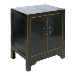 Golden Lotus - Nightstand End Table Chinese Black Lacquer Moon Face Cabinet - This is a Chinese black lacquer nightstand end table which is made of solid elm wood.  The front of cabinet has Chinese brass moon face design on it.