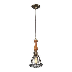 Elk Lighting - Elk Lighting-65137-1-Spun Wood - One Light Pendant - The Spun Wood Collection Combines The Warmth Of Genuine Turned Wood With A Restoration Style Cage. The Finishes Accentuate The Material Combinations Which Include Mahogany Finished Wood, Natural Brass Accents, And A Vintage Rust Cage Or Washed Pine With Polished Nickel Accents And Cage.