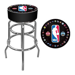 Trademark Global - NBA Logo with All Teams Padded Swivel Bar Sto - Officially Licensed Art. Reverse Printed on Commercial Plastic to Protect Logo from Wear. Luxurious Foam Padding. .25 inch Vinyl Beading Marrying the Top and Side for Added Strength. Marine Grade Vinyl Sides. Chrome Plated Double Rung Base. Seat Dimensions: 14 x 14 x 5 inches. Overall Dimensions: 20 x 20 x 31 inchesThis officially licensed chrome bar stool will provide you and your guests with a comfortable seat as well as a stylish accent to your game room, garage or collection. The stool's seat features an authentic logo highlighted by durable marine grade vinyl sides trimmed with quarter inch vinyl beading. The seat also includes luxurious foam padding and a 360 degree swivel. Chrome double rung reinforced legs are made of tubular steel that is both lightweight and supportive. Bring style, function and comfort to your game room, garage or collection with an officially licensed chrome bar stool.