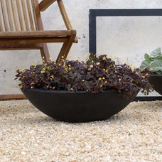Asian Outdoor Pots And Planters Zen Bowl Low Planter in Black