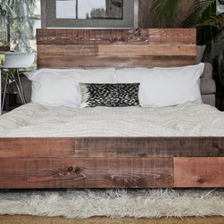 Custom Reclaimed Barn Wood Platform Industrial Bed -