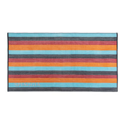 Kassatex - Kassatex Spiaggia Ombre Beach Towel, Orange - No need to read between the lines, these striped towels are utter perfection. One side blankets your skin in luxurious softness, while the other leaves the sand where it belongs — on the beach!