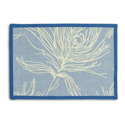 Sky Blue Feather Print Tailored Placemat Set - Class up your table's act with a set of Tailored Placemats finished with a contemporary contrast border. So pretty you'll want to leave them out well beyond dinner time! We love it in this modern print with giant white feathers flating across a striated sky blue cotton ground.