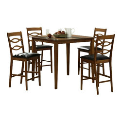 "CBLexingtonPub5pc - 5-Piece Lexington Collection Oak Finish Wood Counter Height Table Set - 5-Piece Lexington collection oak finish wood counter height table set with leather like seats. This set includes the table with legs and 4 side chairs with leather like seats. Table measures 40"" x 40"" X 36"" H. Chairs measure 42"" H to the back. Some assembly required."
