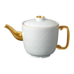 "L'Objet - L'Objet Han Gold Teapot - The Han collection recalls the first of China's four great dynasties, a period of tremendous artistic achievement. Each piece recollects that rich and prosperous era while retaining a modern design. Limoges Porcelain. 24K Gold Details. Dimensions: 9.5"" x 5.5"". L'Objet is best known for using ancient design techniques to create timeless, yet decidedly modern serveware, dishes, home decor and gifts."