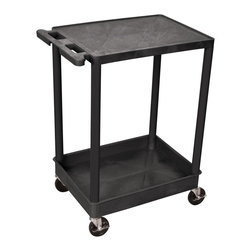 Luxor Furniture - Tub Utility Cart w 2 Shelves in Black - Four heavy duty 4 in. casters, two with brake. Stain, scratch, dent and rust resistant. 2.75 in. deep tub shelf. Push handle molded into flat top shelf. Reinforced with two aluminum bars. Retaining lip around back and flat shelves sides. Weight capacity: 300 lbs.. Made from high density polyethylene structural foam molded plastic. Made in USA. 18 in. L x 24 in. W x 35.25 in. H. Warranty. Assembly Instructions  . Warranty