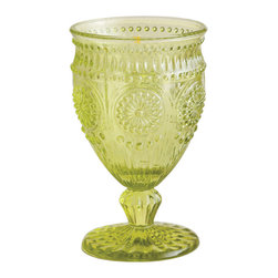 Rosanna™ Parsian Glass Green Drinking Glasses- Set of 4 - I love a simple tablescape adorned with white plates and clear glass, with just one or two WOWZA pieces thrown in to stand out and mix things up. These goblets bring the wowza. Also available in a light purple shade.