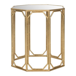 Safavieh - Muriel Accent Table - The Muriel Accent Table brings eight times the elegance to any room with its modern octagonal shape. Crafted with a chic gold-leafed base with mirrored tabletop, It's the ultimate example of updated Asian elegance.