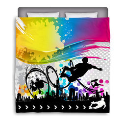 """Eco Friendly Made In USA """"Skate City"""" Skateboard Queen Comforter - Skate Into Your Bed With This Premium """"Skate City"""" Queen Size Comforter From Our Extremely Stoked Skateboard Bedding Bed and Bath Collection."""