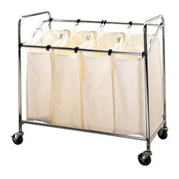 Laundry Sorter, Chrome - This storage bin will keep you organized and it can be wheeled from one room to the next.